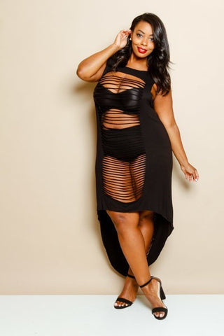 Plus Size Sleeveless Sexy Hi-Lo Laser Cut Dress