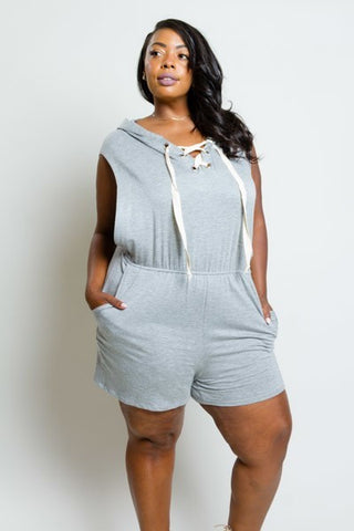 Plus Size It Girl Hooded Jersey Romper