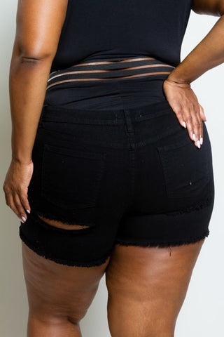 Plus Size Ripped Mini Denim Shorts