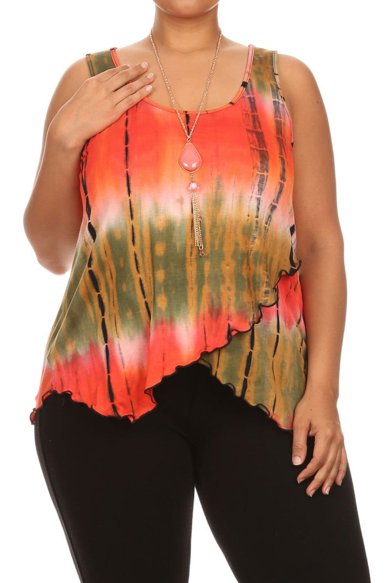 Hued Hi Low Hem Plus Size Tie Dye Top