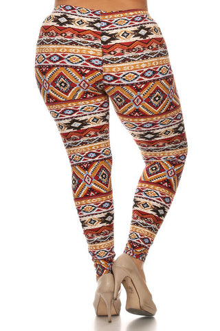 Aztec Sexy Tribal Print Plus Size Leggings