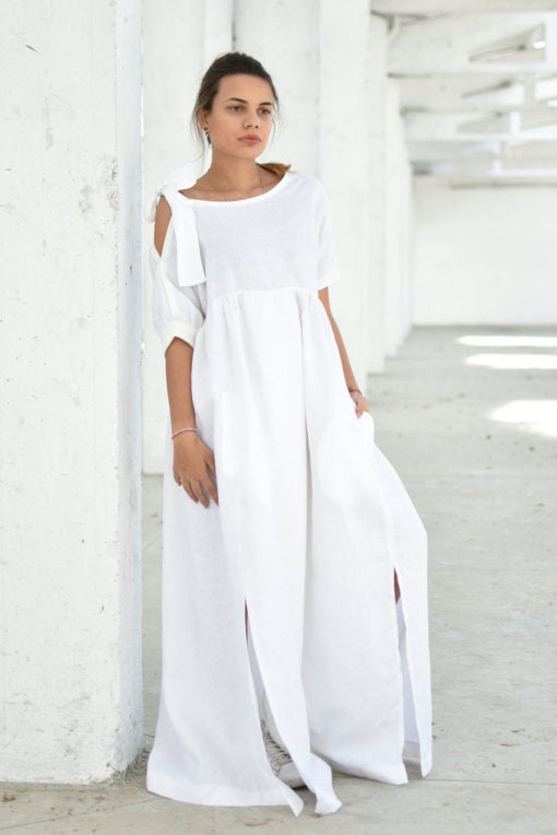 Plus Size Linen Maxi Dress With Slits