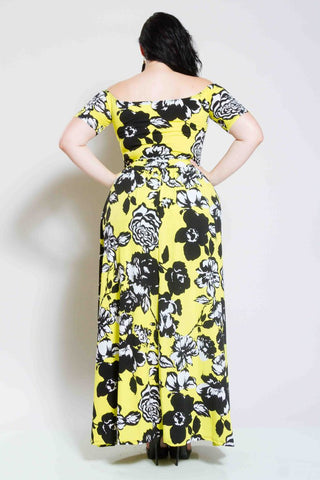 Plus Size Floral Maxi Dress with Slits