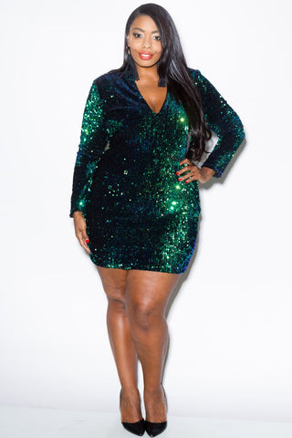 Plus Size Sequin Mini Dress