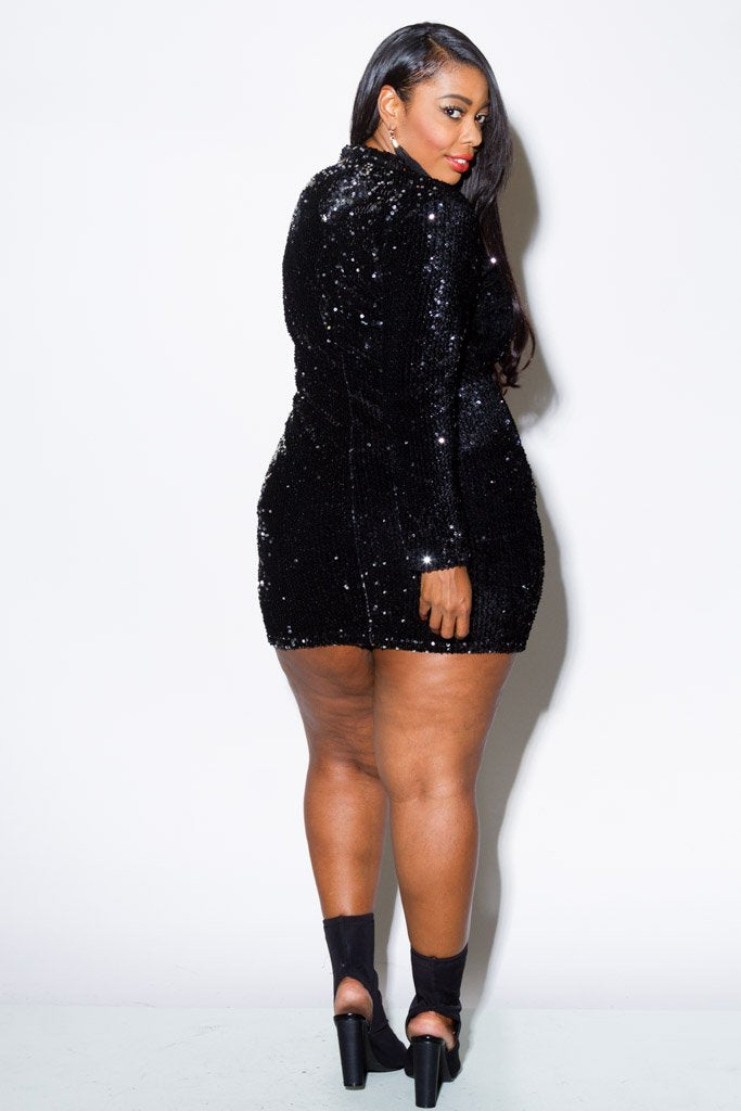 Plus Size Sparkling Sequin Mini Dress – Plussizefix