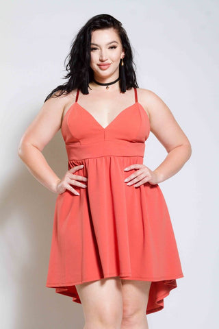 Plus Size Plunged Skater Dress