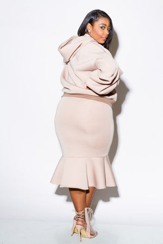 Plus Size Hoodie and Skirt Two Piece
