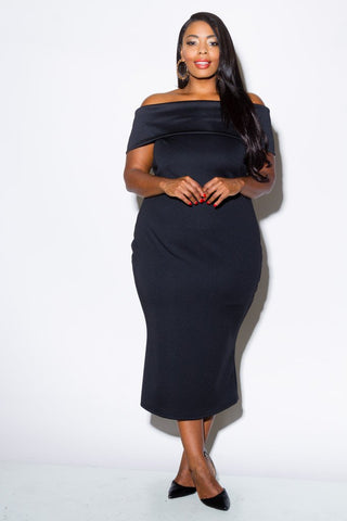 Plus Size Off Shoulder Fold Over Dress