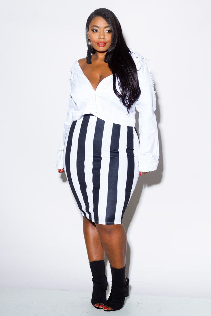 da85822e24038 Plus Size Striped Pencil Skirt – Plussizefix