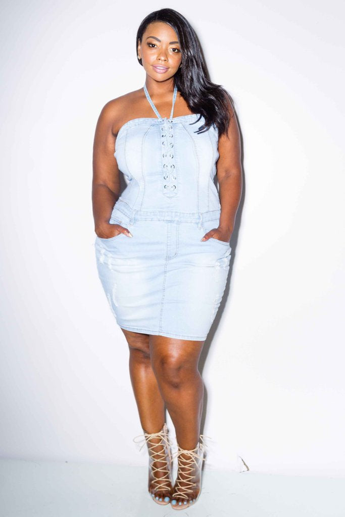 40055475dc8 Plus Size Sexy Lace Up Denim Dress – Plussizefix