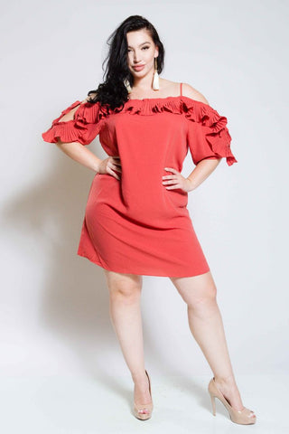 Plus Size Cold Shoulder Dress with Frills