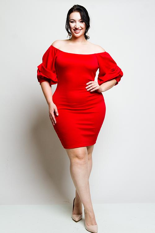 435b9f631cd93 Plus Size Adorable Bubble Sleeve Dress – Plussizefix