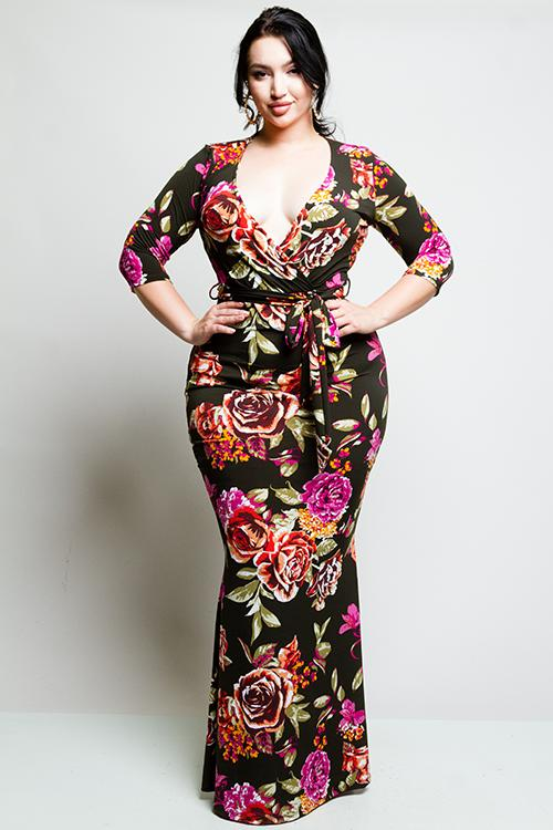 7f097d7b26d Plus Size Surplice Rose Maxi Dress – Plussizefix