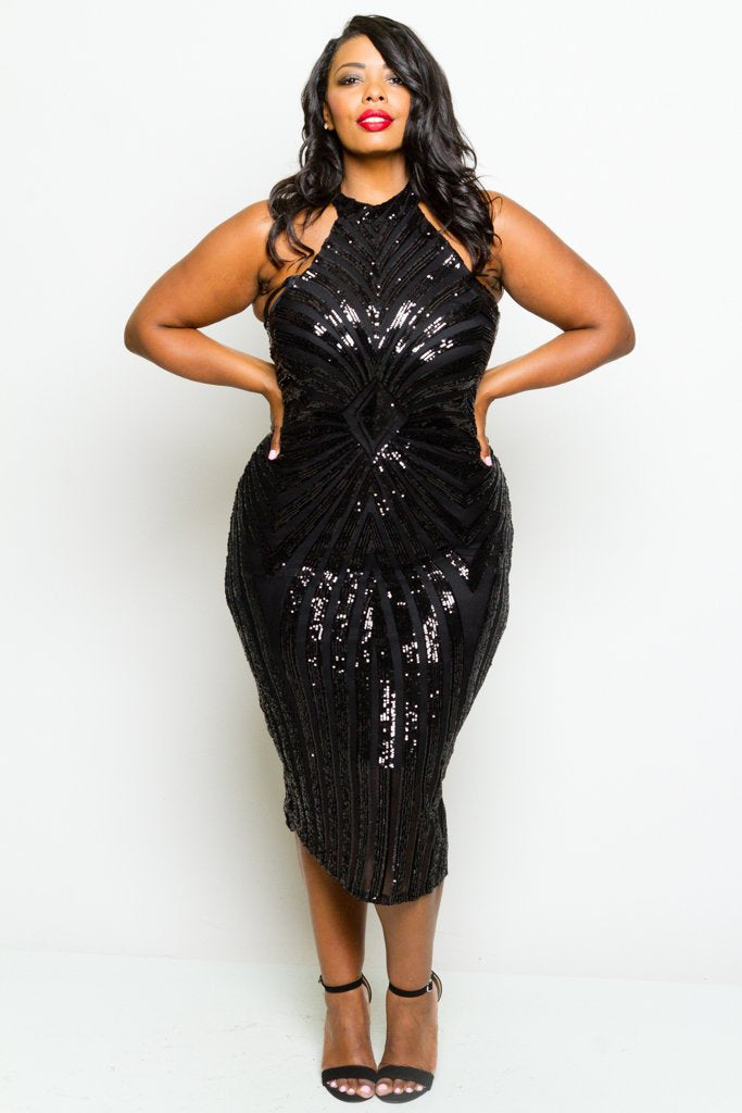 Plus Size Diamond Sparkling Sequin Dress – Plussizefix