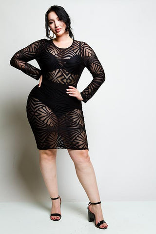 Plus Size Geometric Mesh Dress