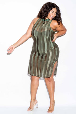 Plus Size Stripe Mesh Double Slit Dress