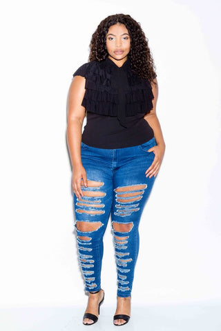 Plus Size Layered Glam Ruffle Top