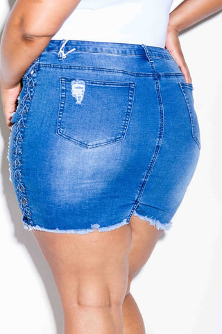 Plus Size Sexy Lace Up Denim Skirt
