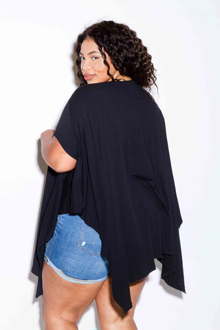 Plus Size Trendy Distressed Harem Perfect Tunic Top