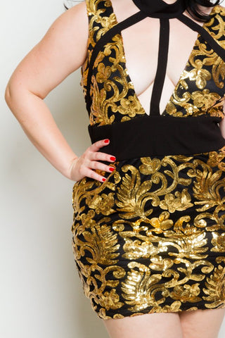 Plus Size Sequin Mock Neck Cutout Dress