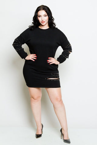 Plus Size Pearl Detail Sweater Dress