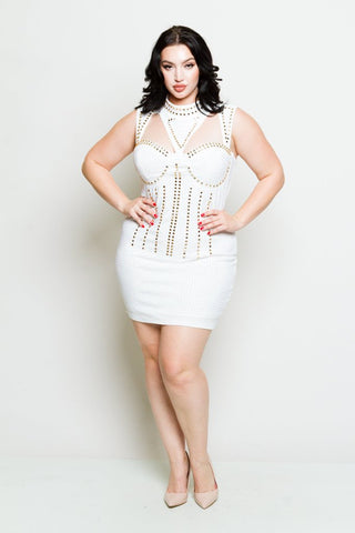 Plus Size Studded Goddess Mini Dress