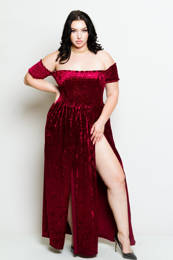 Plus Size Soft Velvet Sexy Off Shoulder Maxi Dress