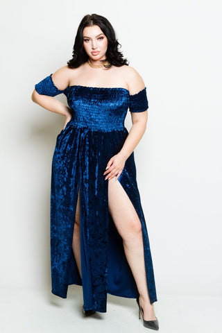Plus Size Velvet Off Shoulder Maxi Dress