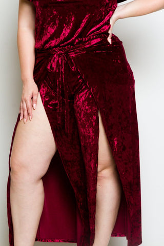 Plus Size Crushed Velvet Top and Pants Set