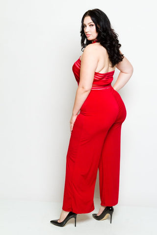Plus Size Mock Neck Halter Jumpsuit