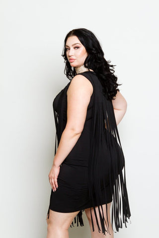 Plus Size Bodycon Fringe Mini Dress