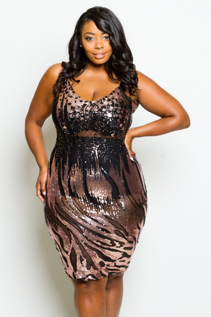 Plus Size See Through Mesh Sparkling Sequin Sexy Bodycon Dress