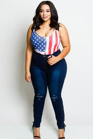 Plus Size High Rise Sexy Lace Up Skinny Jeans
