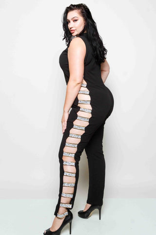 Plus Size Jumpsuit with Side Open