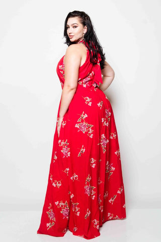 Plus Size Halter Neck Maxi Dress
