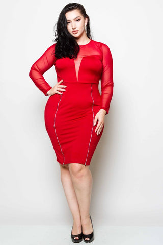 Plus Size Zipper Detail Midi Dress