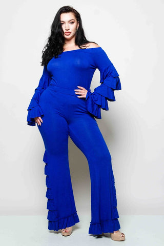 Plus Size Ruffle Sleeve Matching Set