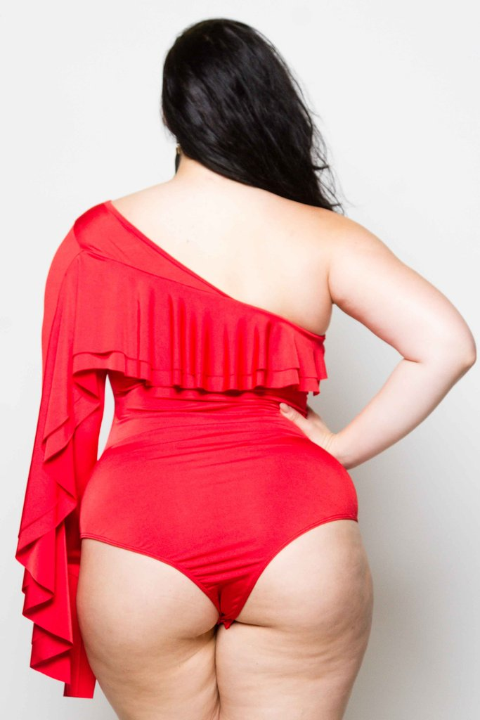Plus Size One Shoulder Bodysuit