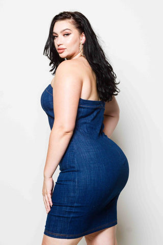 Plus Size Grommet Denim Dress