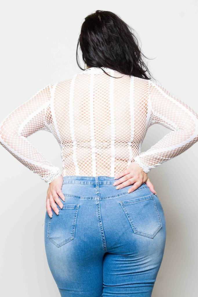 Plus Size Fishnet Bodysuit