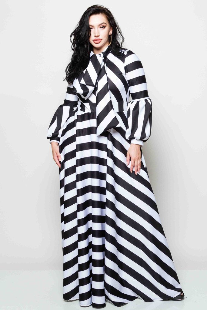 Plus Size Striped Bow Maxi Dress – Plussizefix