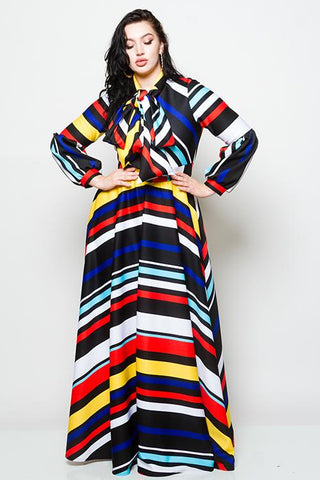 Plus Size Striped Maxi Dress with Bow-1