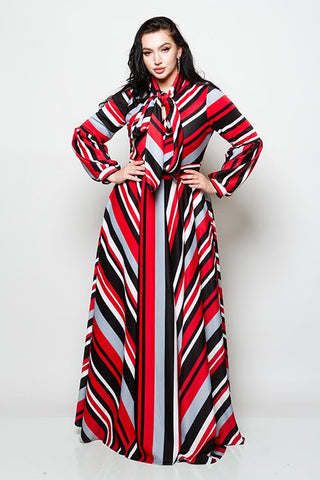 Plus Colorful Striped Maxi Dress with Bow