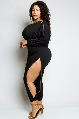 Plus Size Zipper Jumpsuit
