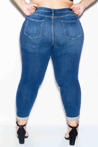 77fb71d076a ... Plus Size Trendy Distressed Jeans with Rolled Cuff