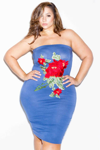 Plus Size Rose Patch Tube Midi Dress