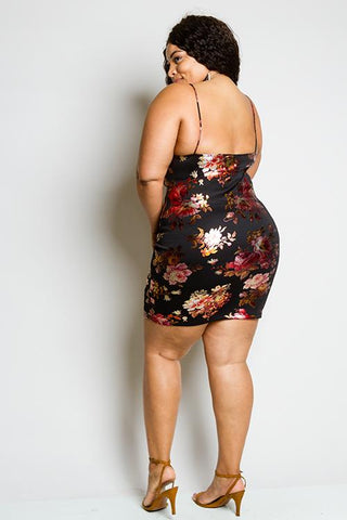 Plus Size Metallic Floral Dress