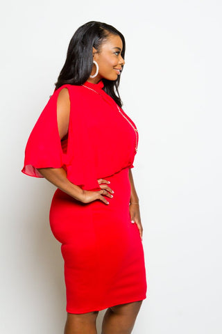 Plus Size Chiffon Overlay Midi Dress
