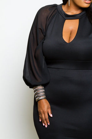 Plus Size Shimmering Cuff Bubble Sleeve Keyhole Dress [SALE]