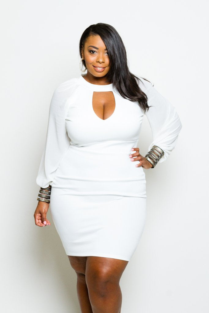 Plus Size Shimmering Cuff Bubble Sleeve Keyhole Dress